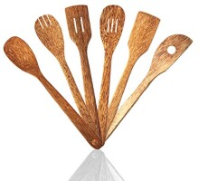 6 Piece Coconut Wood Kitchen Utensils: Wooden Spoon And Spatula Set With Unique And Elegant Design, Perfect For Serving, Mixing And Turning, Eco Friendly And Non Stick Cooking Tools