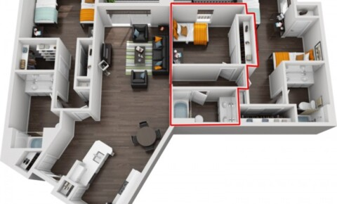 Apartments Near USC $1990/Private Room/Bath within 3x3 floorplan near USC (LA) for University of Southern California Students in Los Angeles, CA