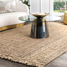 nuLOOM Natural Collection Chunky Loop Jute Casuals Natural Fibers Hand Woven Area Rug, 5-Feet by 8-Feet, Natural