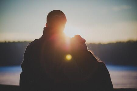 couple, relationship, man, woman, sun, landscape