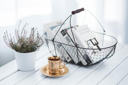 basket, plant, table, books, office