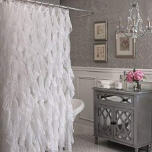 Cascade Shabby Chic Ruffled Sheer Shower Curtain (White)